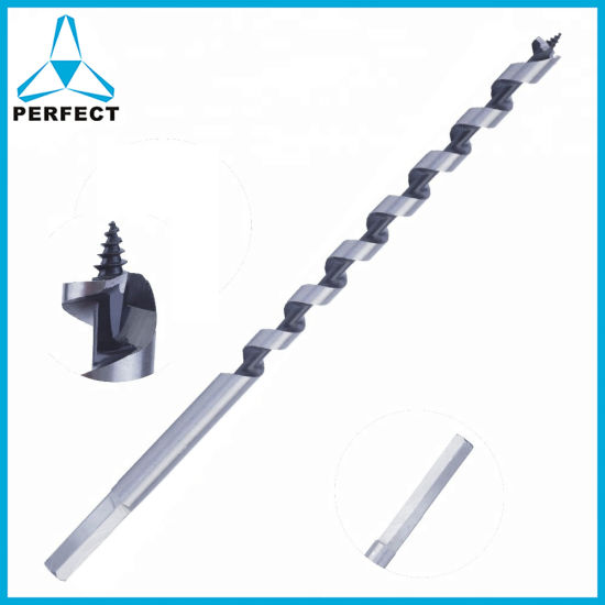 China Quick Change Hex Shank Single Flute Long Wood Auger Drill Bit With Stem For Wood Drilling China Extra Long Wood Auger Drill Bit Wood Auger Drill Bit