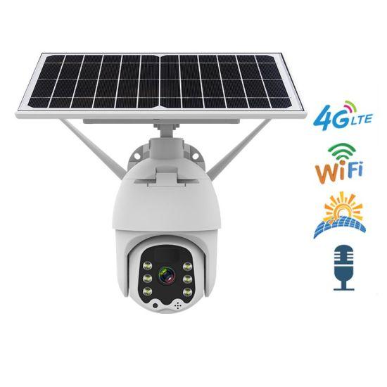 Wireless Battery Powered Solar CCTV Camera Outdoor Alert PTZ Camera WiFi or 4G Card Network IP Security Camera Icam+ APP