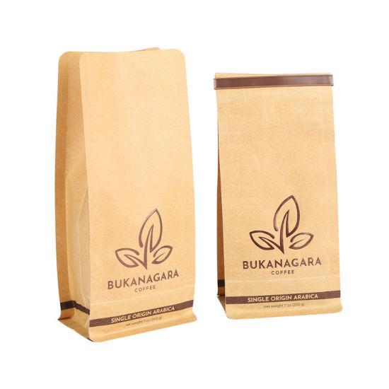 Custom Printed Zip Lock Biodegradable Kraft Paper Flat Bottom Coffee Tea Packaging Bag