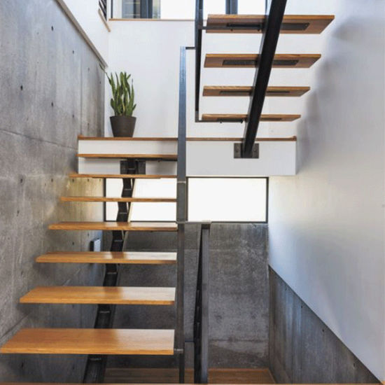 China Simple Design Double Stringer Staircase For Basement China Oak Wood Handrail