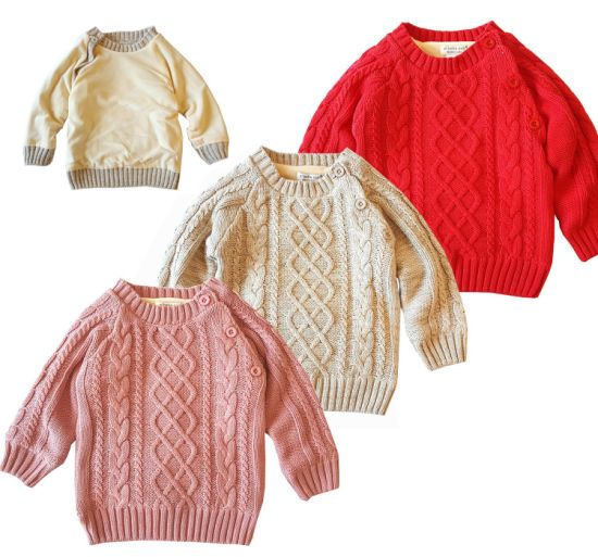 Twist Pattern Pure Color Plush Pullover Knitwear