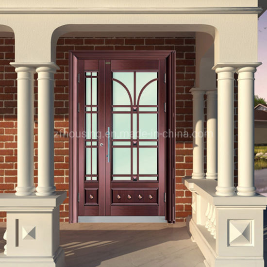Single Swing Steel Security Door with Tempered Glass Zf -Ds-015