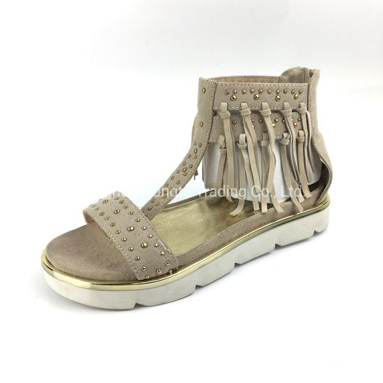 Women's Tassel Fringe Ankle Cuff Sandal Shoes