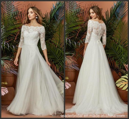1 2 Sleeves Bridal Gown Lace Tulle Beach Boho Muslim Wedding Dress 2019  M1931 ff0f0d6ac135