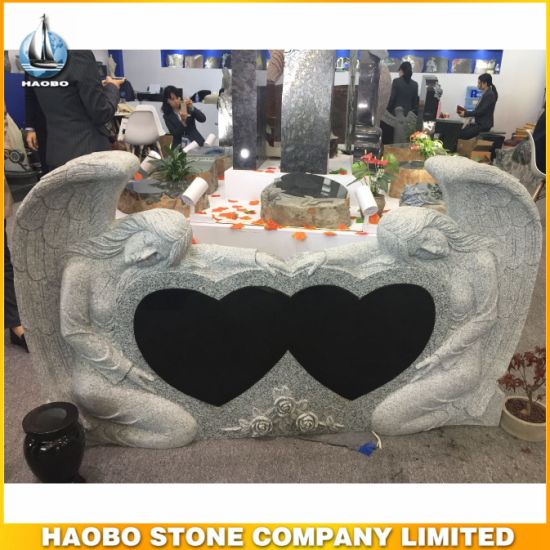 High Quality Monument Heart Shape Tombstone Double Angel Gravestone