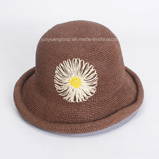 10a73954b34 Hand Crocheted Flower Embroidery Roll-up Brim Straw Paper Bucket Hat