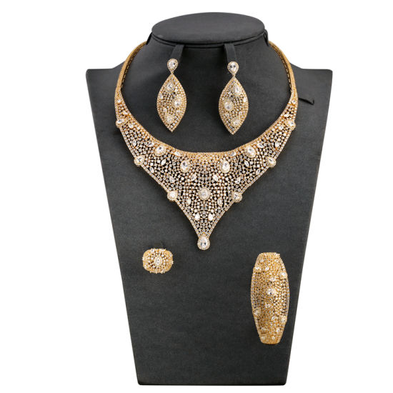 Unique Rhinestone Necklace Water Drop Earrings Cubic Gemstone Jewelry Sets S
