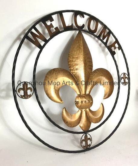 Welcome Fleur De Lis Twisted Circle Rope Ring Wall Hanging Wall Metal Sign pictures & photos