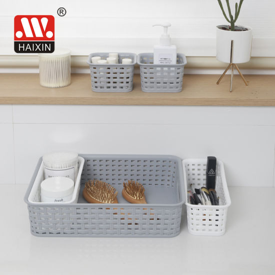 Household Plastic Storage Basket for Kitchen Organization with Cut out Handles