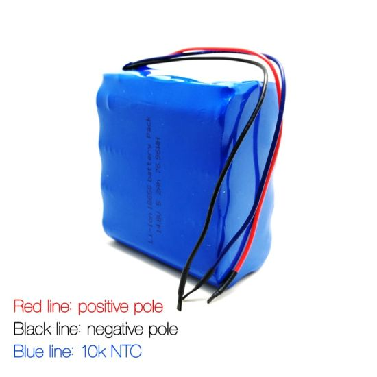 Rechargeable 4s2p 14.8V 18650 6000mAh/6200mAh/6400mAh/6800mAh Lithium Ion Battery Pack with BMS and Connector