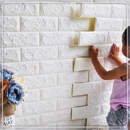 Home Factory And Free Samples Pe Brick Foam 3d Wallpaper