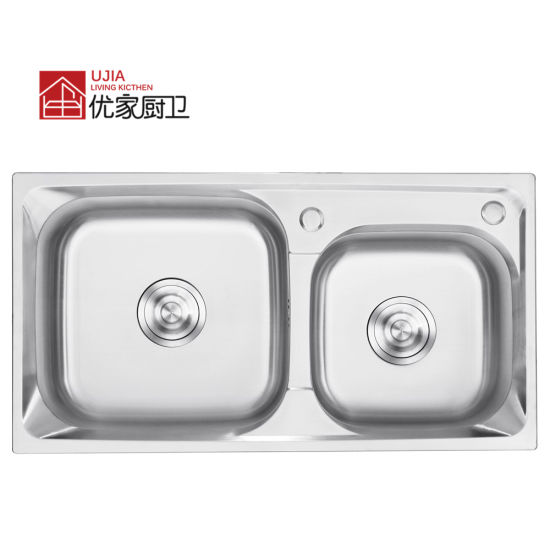 Double Bowl Stainless Steel Press Sink with Faucet Kitchen Ware Sink (7239C)