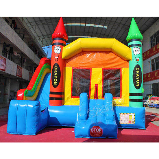 Smile Face Custom Crayon Bounce House with Slide for Outdoor pictures & photos