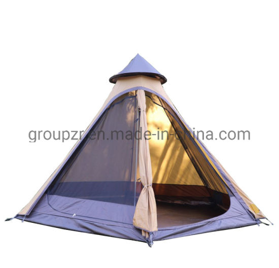 3-4 Person Double Layers and Aluminum Pole Material Tipi Indian Camping Tent for Traveling Hiking Beach Fishing