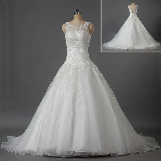 Designer Boat Neck Sleeveless Lace Organza Wedding Dresses for Bride W105