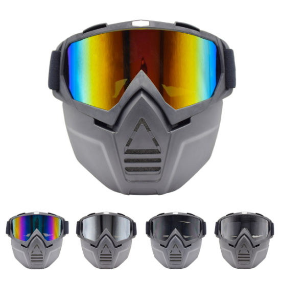 Riding Detachable Modular Motorcycle Helmet Face Mask Shield Goggles