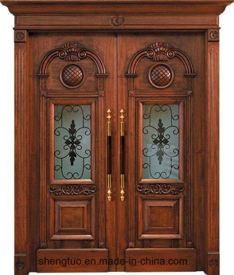 Solid Africa Wood Door Front Entry Double Door for Villa (ST-1003)