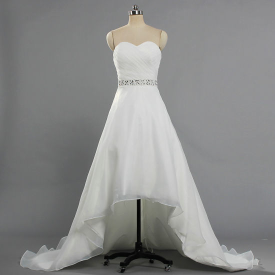W362 Strapless Bead Waist Organza Short Front Long Back Train Bridal Gown