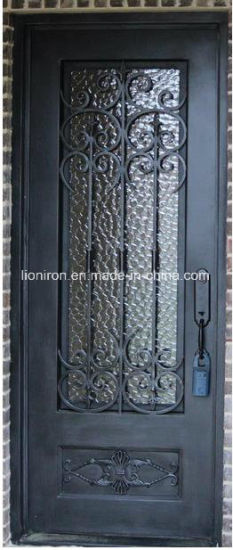 China Transom Design Wrought Iron Door Single Design Front Entry