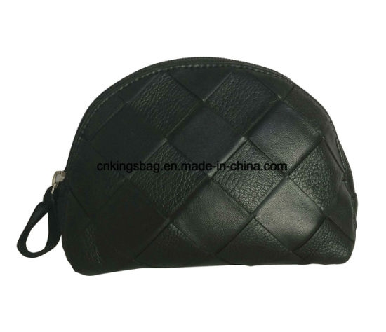 46099d2d6932 Fake Weave Semi-Matt PU Shell Shape Beauty Promotion Black Makeup Bag