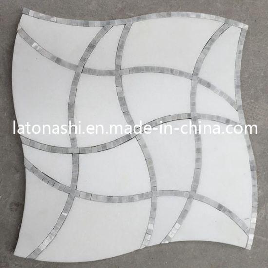 Carrara White Marble Waterjet Patterns, Thassos Waterjet Mosaic Tiles
