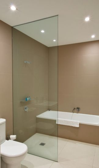China Frameless Glass Shower Doors Tempered Glass With Cut Slot And