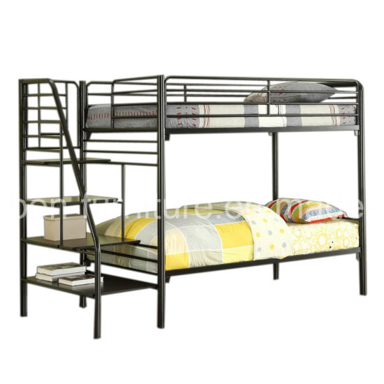 Triple Sleeper Bunk Bed Frame Double On Bottom Single On Top With Side Ladder And Bookshelf