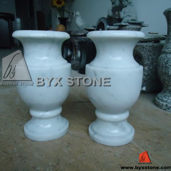 China White Marble Stone Flower Vase For Cemetery Monument China