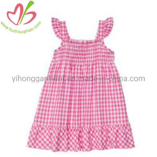 c279e6c3cd5e65 China Little Puffy Pink Gingham 100% Cotton Seersucker Blank Girls ...