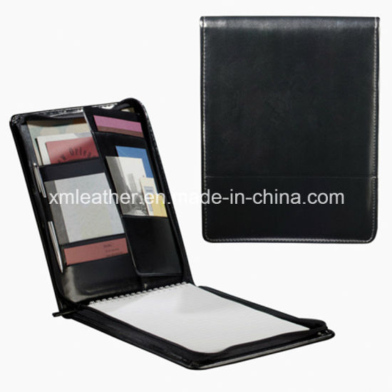 Custom Size Zipper PU Leather Note Organizer with Logo Embossed