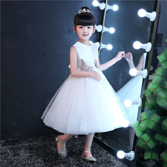 Ivory Embroider Girl Clothes Kids Garment Fashion Girl Dress (ST04)