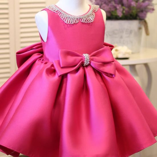 Fluffy Satin Bow Girl Dress for Wedding