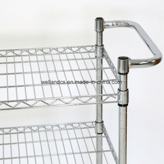 China Easy Moving 3 Tier Wire Mesh Rack Rolling Cart Multifunction ...