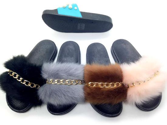 Custom Lady Faux Fur Fashion Chain Indoor Bedroom Slipper Women Plush Soft Slipper