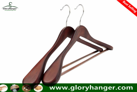 Top Quality Luxury Wooden Suit Hanger with Pants Bar pictures & photos