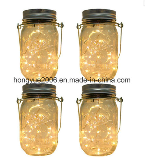 china hanging solar garden jar light with 20pcs micro warm white