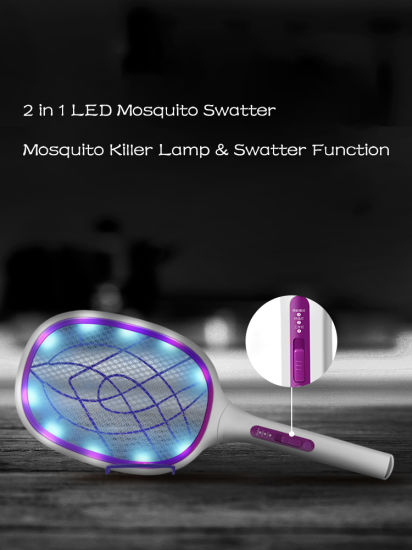 Huntingood Bug Zapper/Fly Swatter/Electric Mosquito Killer with Fast USB Charging, Bright LED Lighting, Separable Fixed Base and 3 Layer Safety Grid pictures & photos