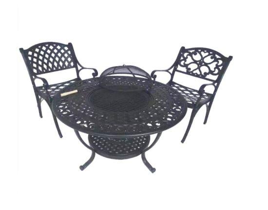 4seats Chair Cast Aluminum Garden Set BBQ Dining Table