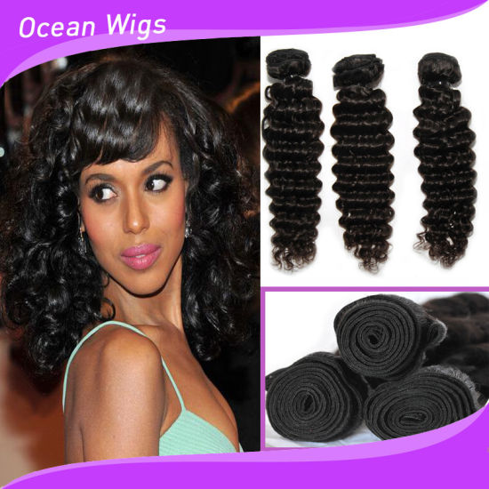 "8""-30""Virgin Russian 100% Human Hair Extension, Deep Wave Bundle Hair Weft, Natural Color Can Be Dye pictures & photos"