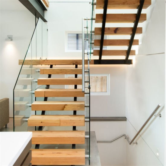 single steel beam solid wood straight staircase double beam wooden stair with glass railing - Wooden Stairs