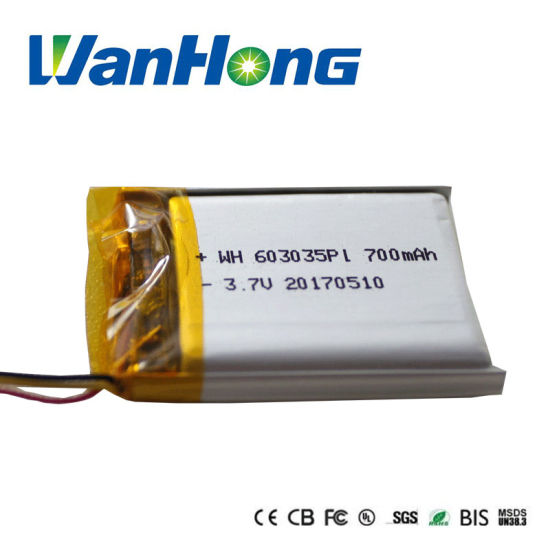 603035pl 700mAh Lithium Ion Li-ion Li-Polymer Battery Pack for MP3/4/5 Speaker