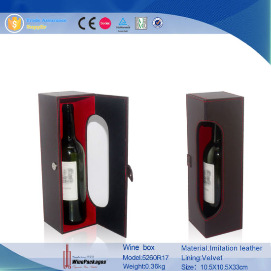 Luxury PU Leather Single Bottle Wine Display Stand Box (5260R17) pictures & photos
