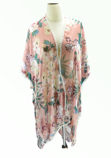 BSCI Multi-Wear Women's Beach Cover Chiffon Shawl with Cotton Lace