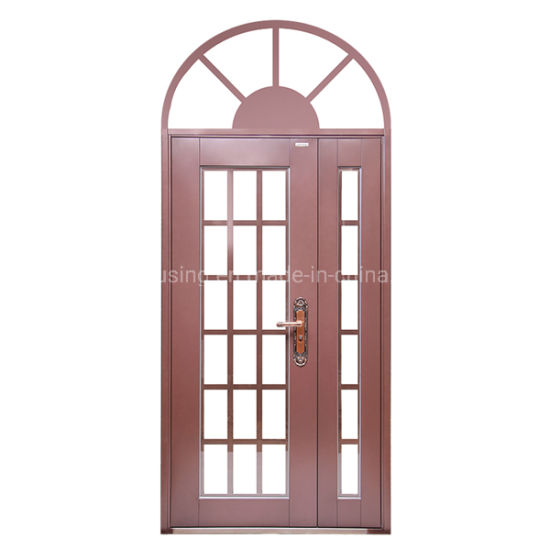 Arched Steel Security Door with Tempered Glass for Home Door Zf -Ds-013