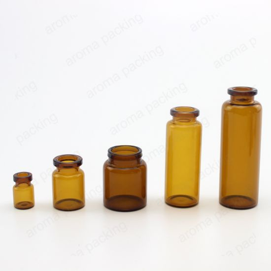 Mini Cosmetic Pharmaceutical Medicine Amber Glass Vial with Rubbers Stoppers Cap
