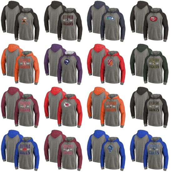 Packers Timeless Collection Antique Stack Throwback Logo Tri-Blend Raglan Hoodies