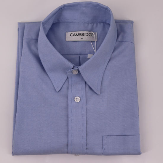 Classic Light Blue Cotton/Poly Pinpoint Shirt with Wrinkle Resistance