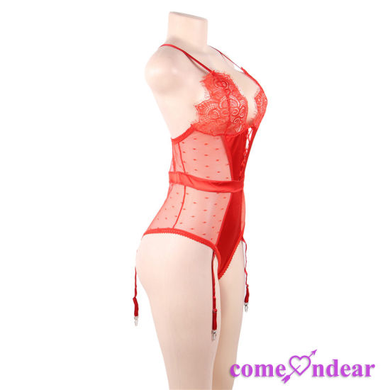 606f673d10d China Plus Size Red Deluxe Satin Lace Stitching Garter Belt Lingerie ...