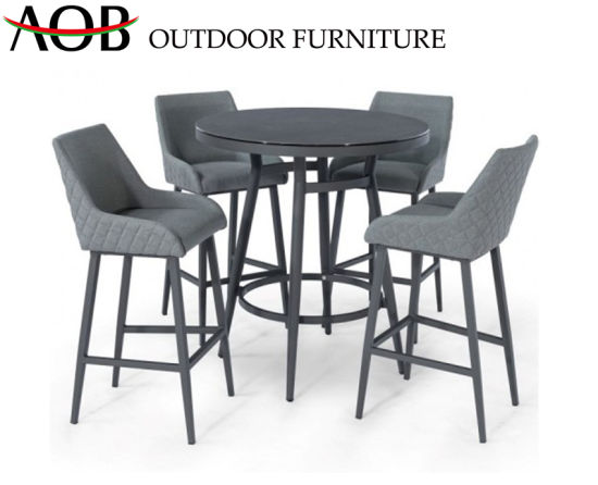 Chinese Modern Outdoor Garden Patio Home Furniture All Weather High Stools Dining Fabric Poolside Bar Sets