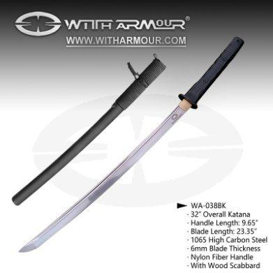 """Overall 32"""" Katana Sword 1065 Steel Blade and ABS + Nylon Fiber Handle"""